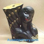 """Barsony """"Black Lady"""" TV Lamp with """"Silver Cloud"""" sticker."""