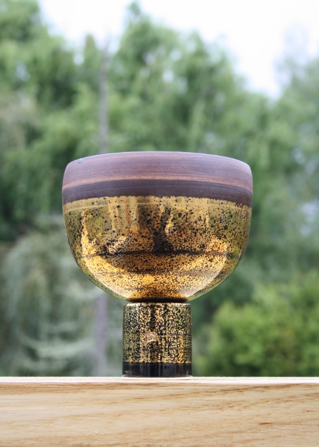 Gold lustre Derek Smith Pedestal Bowl.