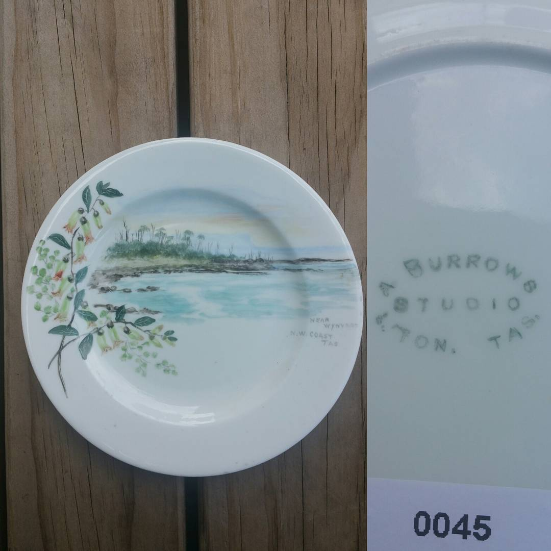 "Day 30: Although not exactly Australian pottery today's piece still fits with my Australian ceramics collection. This plate (more than likely an English made blank) was hand painted by Amelia Burrows wife of Launceston photographer Alfred Edward Burrows circa 1900. The scene is titled ""Near Wynyard NW Tasmania"". #AustralianPottery #AustralianArtPottery #AustralianStudioPottery #australianceramics #AustralianStudioChinaPainting #ChinaPainting #TasmanianPottery #TasmanianCeramics #TasmanianArt #Pottery #Ceramics #instapottery #WynyardTasmania #365DaysofAustralianPottery"