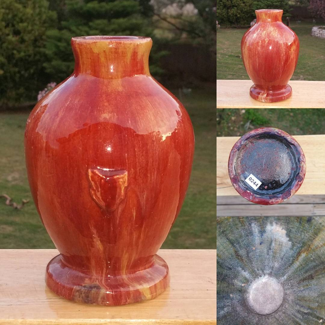 Day 62: Today's piece is another mystery Tasmanian piece. Unmarked but possibly by Van Diemen pottery circa late 1940s. The body is covered in an amazing red and yellow drip glaze with purple covering the base. It stands about 20cm high so not a small piece. #AustralianPottery #AustralianArtPottery #TasmanianPottery #TasmanianCeramics #TasmanianArt #Pottery #Ceramics #instapottery #AustralianDesign #MyliePeppin #VanDiemen #VanDiemenPottery #RossClifford #365DaysofAustralianPottery #mapoftassie